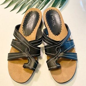 BareTraps Slip-On Black Comfort Sandals 8M EUC